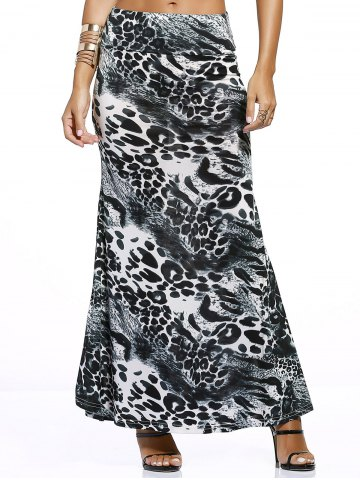 Discount Chic Inkblot Print Long Skirt For Women