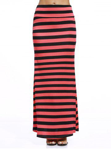 Shop Casual Style Black And Red Stripe Print Maxi Skirt For Women