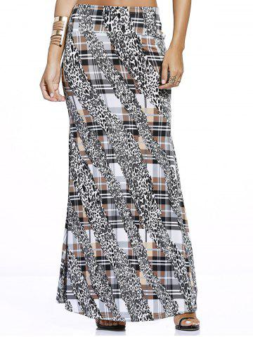 Outfits Leopard Check Print Maxi Skirt COLORMIX S