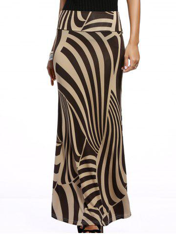 New Irregular African Print Maxi Skirt KHAKI 3XL