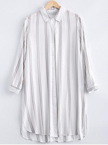 Store Casual Long Sleeves Striped Shirt Dress For Women