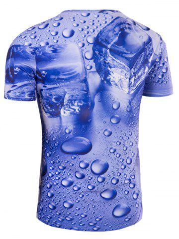 Online Slimming 3D Drop of Water Printing Collarless Short Sleeves For Men - 2XL BLUE Mobile