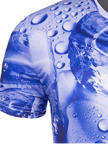Unique Slimming 3D Drop of Water Printing Collarless Short Sleeves For Men - L BLUE Mobile