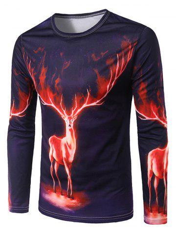 Cheap Slimming 3D Deer Printing Collarless Long Sleeves For Men COLORMIX L