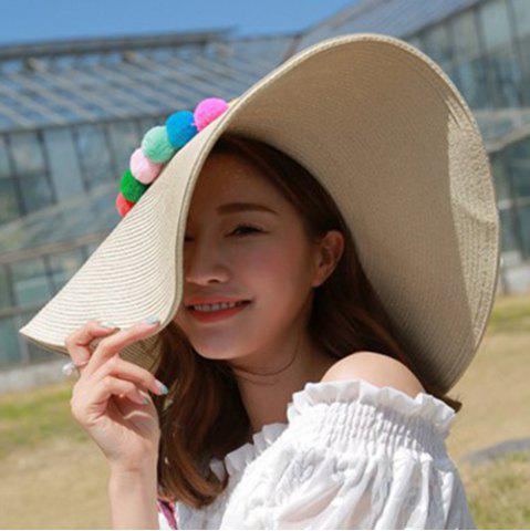 Shops Chic Colorful Pompon Embellished Summer Sunscreen Straw Hat For Women