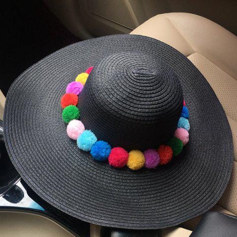 Outfit Chic Colorful Pompon Embellished Summer Sunscreen Straw Hat For Women
