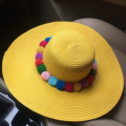 Trendy Chic Colorful Pompon Embellished Summer Sunscreen Straw Hat For Women - YELLOW  Mobile