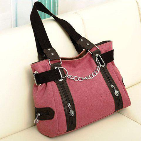 Shop Casual Chain and Canvas Design Tote Bag For Women - WATERMELON RED  Mobile