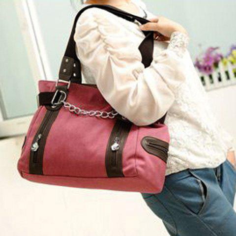 Shops Casual Chain and Canvas Design Tote Bag For Women - WATERMELON RED  Mobile