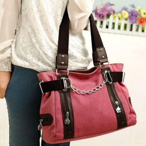 Fashion Casual Chain and Canvas Design Tote Bag For Women - WATERMELON RED  Mobile