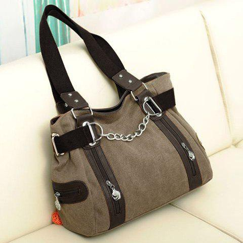 Hot Casual Chain and Canvas Design Tote Bag For Women - DARK KHAKI  Mobile