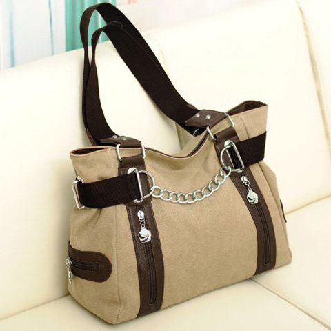 Discount Casual Chain and Canvas Design Tote Bag For Women - KHAKI  Mobile