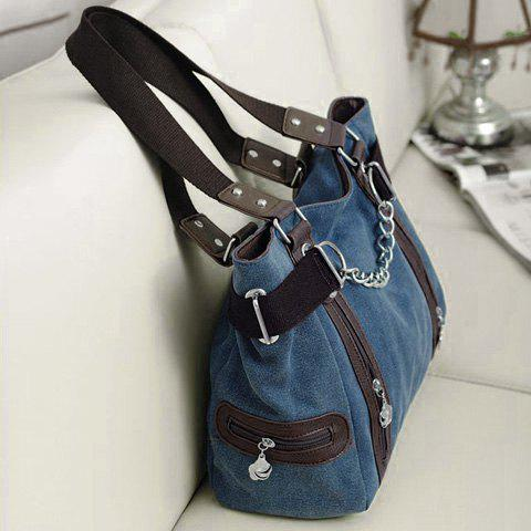 Discount Casual Chain and Canvas Design Tote Bag For Women - BLUE  Mobile