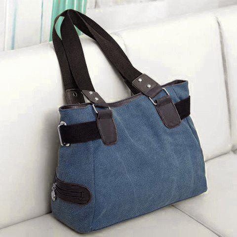 Shop Casual Chain and Canvas Design Tote Bag For Women - BLUE  Mobile