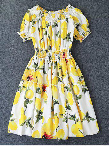Outfits Sweet Off-The-Shoulder Lemon Print Ruffled Dress For Women