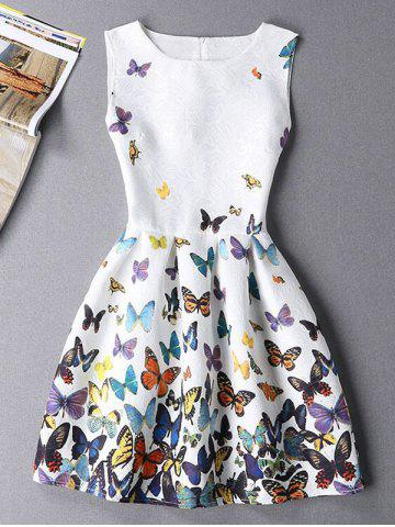 Cheap Sleeveless Butterfly Mini Casual Spring Everyday Dress WHITE XL