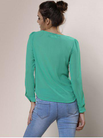 Shop Stylish V-Neck Long Sleeve Zipper Design Chiffon Solid Color Women's Blouse - GREEN 2XL Mobile