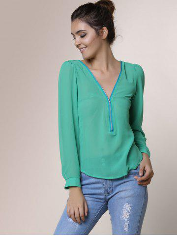 New Stylish V-Neck Long Sleeve Zipper Design Chiffon Solid Color Women's Blouse - GREEN 2XL Mobile