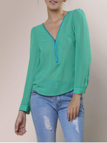 Affordable Stylish V-Neck Long Sleeve Zipper Design Chiffon Solid Color Women's Blouse - GREEN 2XL Mobile