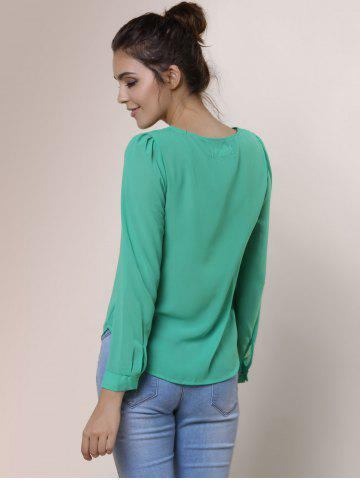 Store Stylish V-Neck Long Sleeve Zipper Design Chiffon Solid Color Women's Blouse - GREEN 2XL Mobile