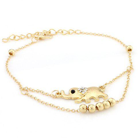 Outfit Rhinestone Elephant Beads Charm Girl Layered Anklet - GOLDEN  Mobile