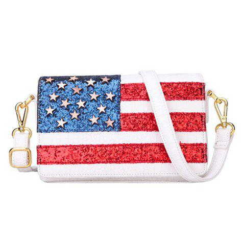 Fancy Fashion Flag Pattern and Zip Design Crossbody Bag For Women