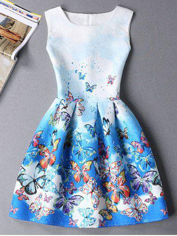 New Cute Sleeveless Round Neck Butterfly Print Ombre Women's Dress BLUE S