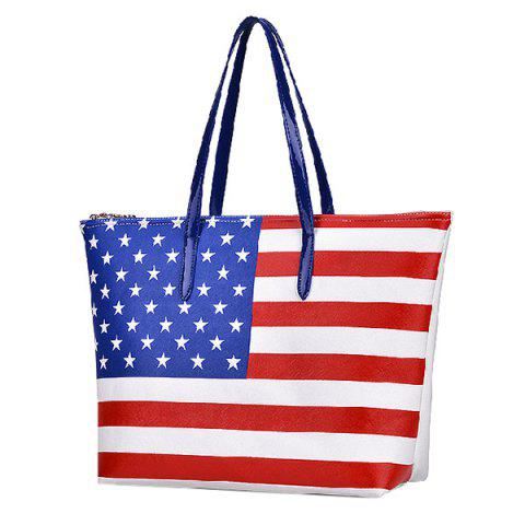 Chic Casual Flag Pattern and Zip Design Shoulder Bag For Women