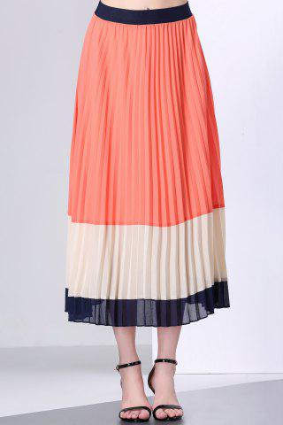 Store Hit Color Pleated Chiffon Long Skirt