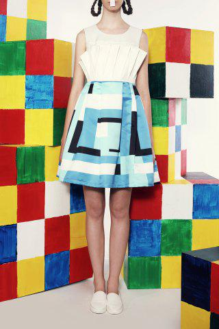 Buy Folded Waisted Corset Checked Dress