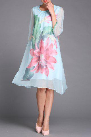 Fancy Large Flower Print Dress