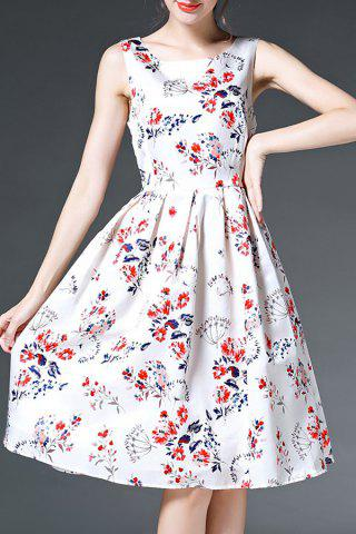 Store Round Neck Sleeveless Printed Bowknot Dress