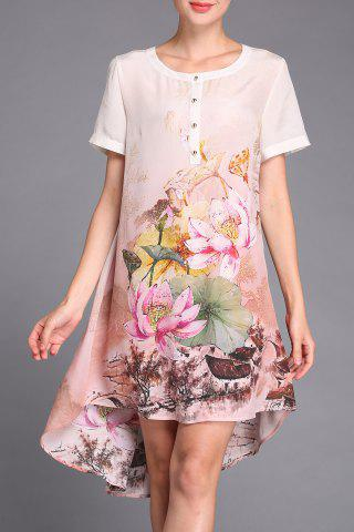 Best Lotus Flower Print Asymmetric Dress