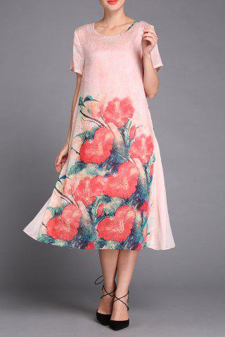 Fashion Floral Print Tulle Spliced Dress Twinset