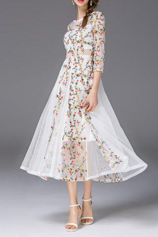 Fashion Boat Neck See Through Floral Embroidered Dress