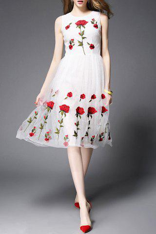 Discount Stand Neck Sleeveless Rose Embroidery Dress
