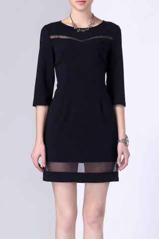 Online Sheer Stripe Hollow Out Gauze Panelled Dress