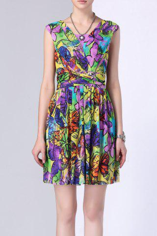 Store Butterfly Print Colorful Ruffle Dress