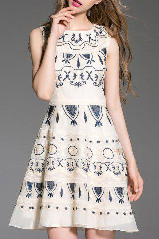 Online Round Collar Embroidered Tank Dress