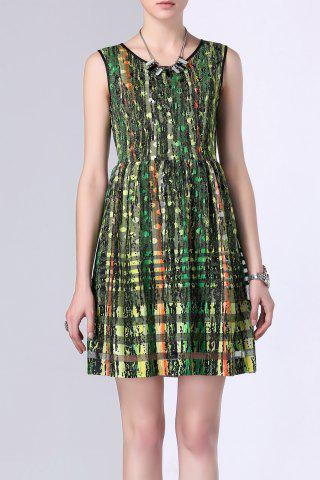 Latest Sheer Stripe Mesh Spliced Print Dress