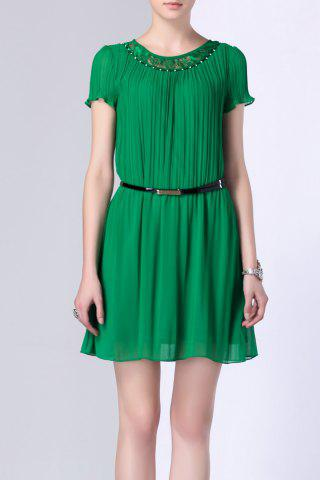 Best Lace Spliced Hollow Out Pleated Dress