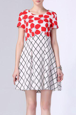 Buy Flower Print Checked Panel Dress