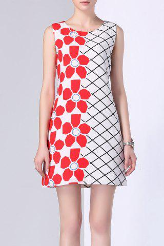 Shop Floral Print Checked Panel Dress