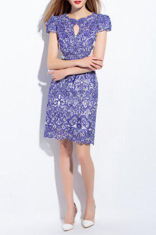 Outfits Short Sleeve Embroidery Spliced Dress