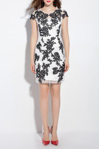 New Short Sleeve Floral Embroidery Sheath Dress
