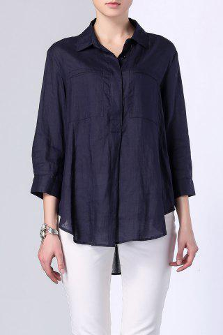 Outfit Single Breasted High Low Pocket Embellished Shirt