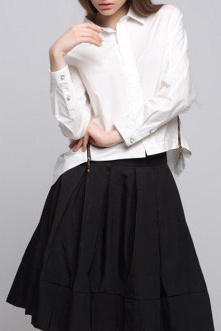Discount Long Sleeve Cropped Shirt in White