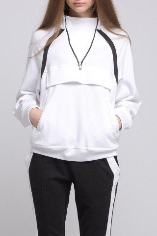 Store Zipped Front Pocket White Hoodie