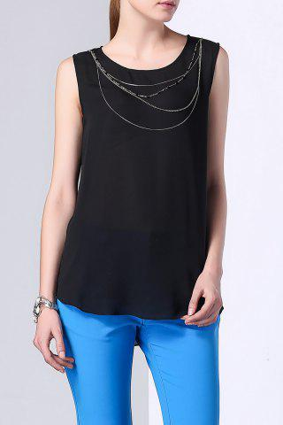 Affordable Necklace Embellished Double Flounced Layer Tank Top
