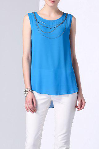 Outfit Necklace Embellished Back Double Layer Tank Top